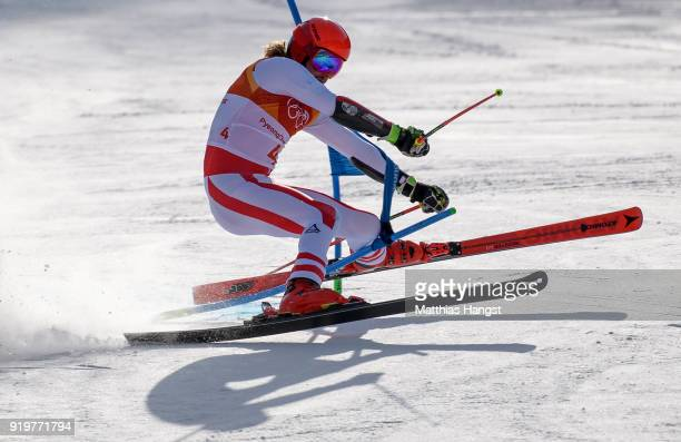 Manuel Feller of Austria crashes at the finish during the Alpine Skiing Men's Giant Slalom on day nine of the PyeongChang 2018 Winter Olympic Games...