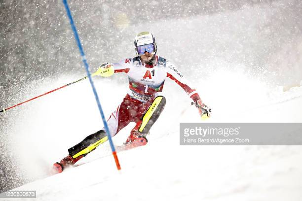 Manuel Feller of Austria in action during the Audi FIS Alpine Ski World Cup Men's Slalom on January 26, 2021 in Schladming Austria.