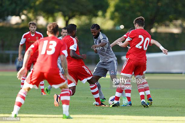 Manuel Fernandes of Besiktas surrounded by players of Southampton during the preseason friendly match between Southampton FC and Besiktas Istanbul at...