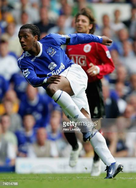 Manuel Fernandes of Everton wtaches his shot travel towards the back of the net to score his team's second goal during the Barclays Premiership match...