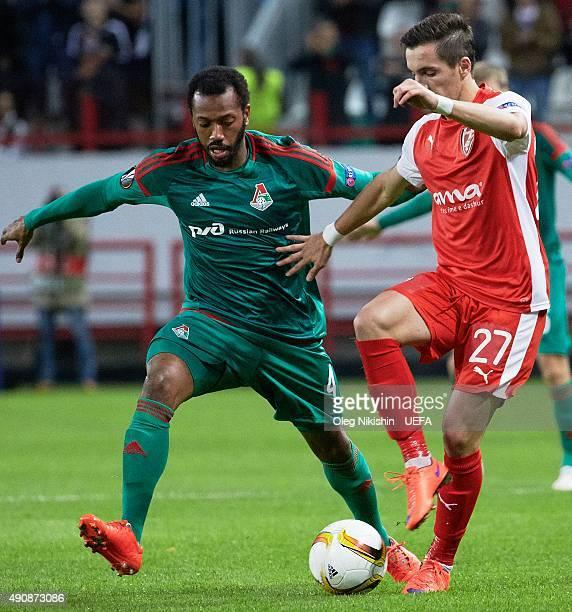 Manuel Fernandes of FC Lokomotiv Moskva competes for the ball withl Liridon Latifi of KF Skenderbeu during the UEFA Europa League match between FC...