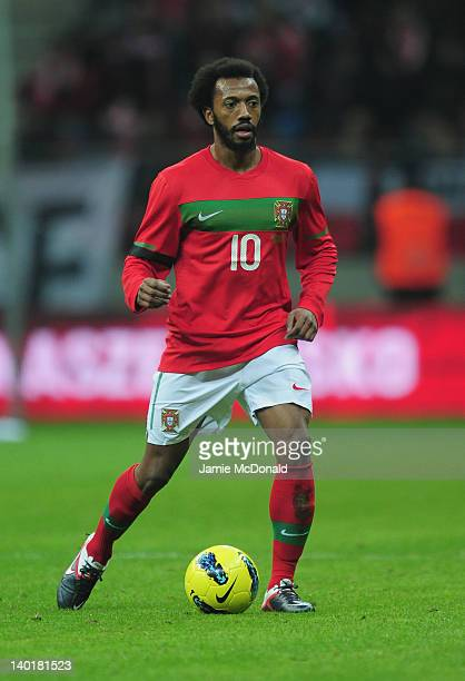 Manuel Fernandes of Portugal in action during the International Friendly mach between Poland and Portugal at National Stadium on February 29 2012 in...