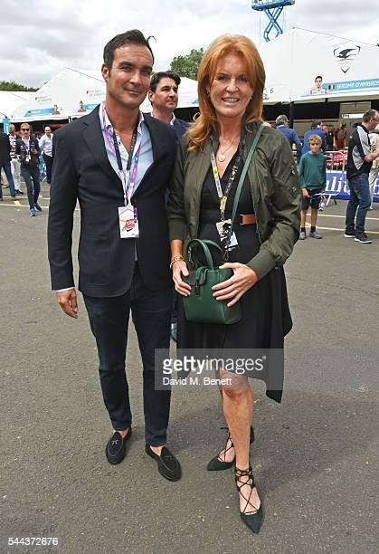 Manuel Fernandez and Sarah Ferguson Duchess of York attend day 2 of the 2016 FIA Formula E Visa London ePrix in Battersea Park on July 3 2016 in...