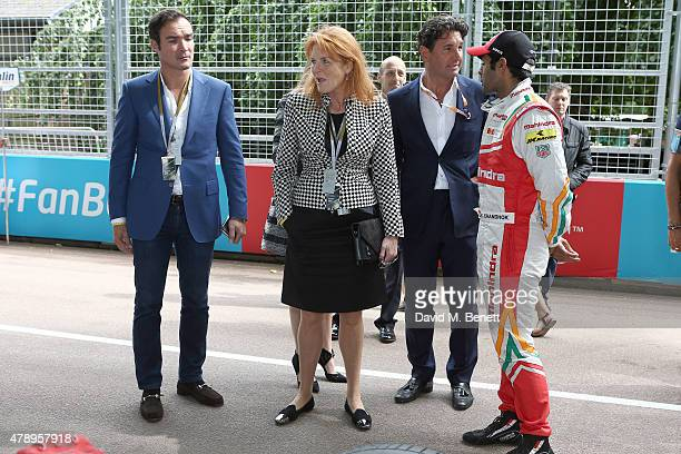 Manuel Fernandez Sarah Duchess of York and Giorgio Veroni attend Day Two at the 2015 FIA Formula E Visa London ePrix at Battersea Park on June 28...