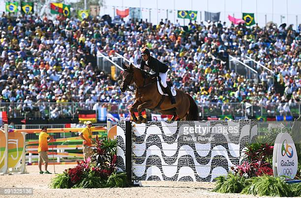 Manuel Fernandez Saro of Spain rides U Watch during the Individual Jumping 3rd Qualifier during Day 12 of the Rio 2016 Olympic Games at the Olympic...
