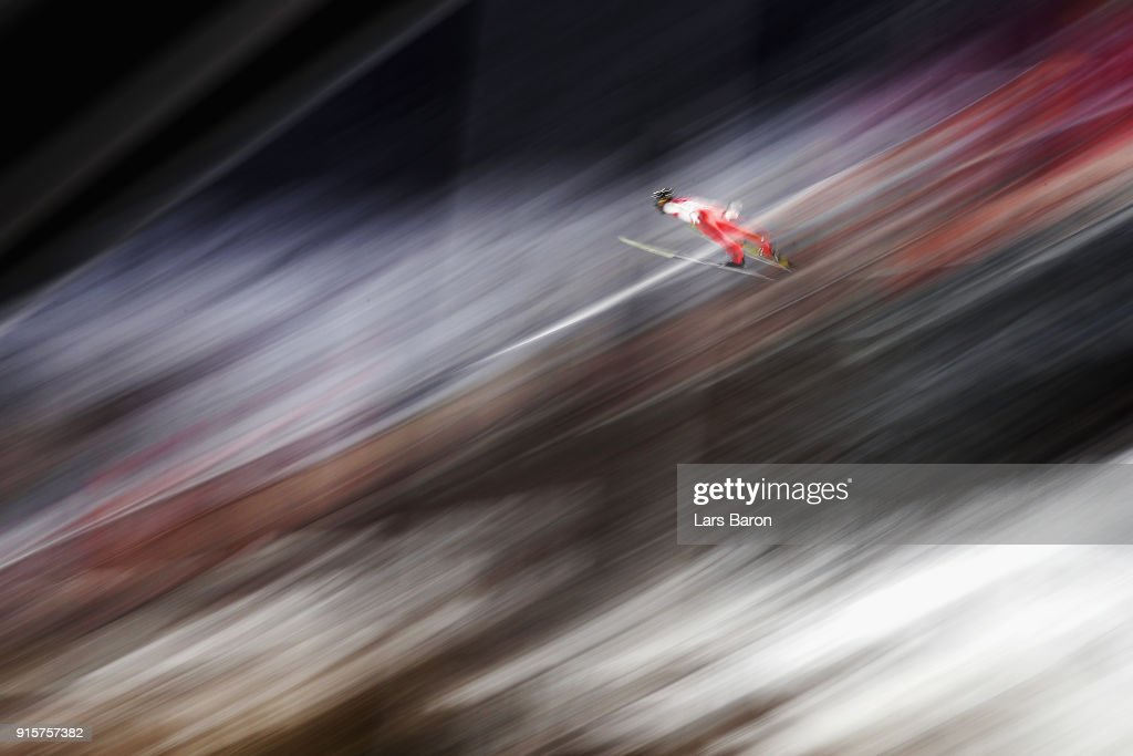 Manuel Fettner of Austria competes during Men's Normal Hill Individual Qualification at Alpensia Ski Jumping Centre on February 8, 2018 in Pyeongchang-gun, South Korea.