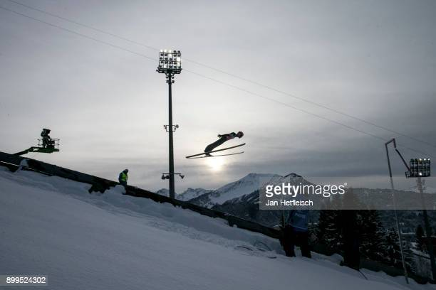 Manuel Fettner of Austria competes during the training round for the Four Hills Tournament on December 29 2017 in Oberstdorf Germany