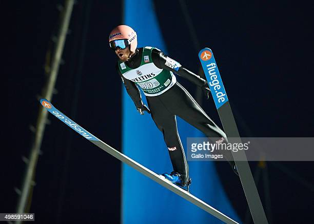 Manuel Fettner of Austria competes in the 2nd round of FIS Ski Jumping World Cup team competition on November 21, 2015 in Klingenthal, Germany.
