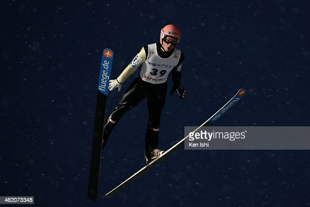 Manuel Fettner of Austria competes in the first round in the Large Hill Individual during the day one of FIS Men's Ski Jumping World Cup Sapporo at...