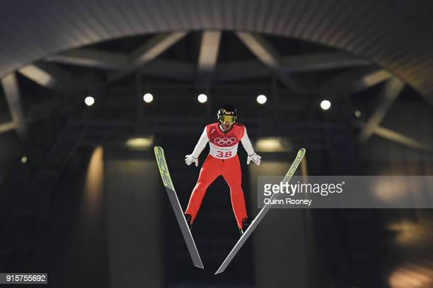 Manuel Fettner of Austria competes in the Men's Normal Hill Individual Qualification at Alpensia Ski Jumping Centre on February 8 2018 in...