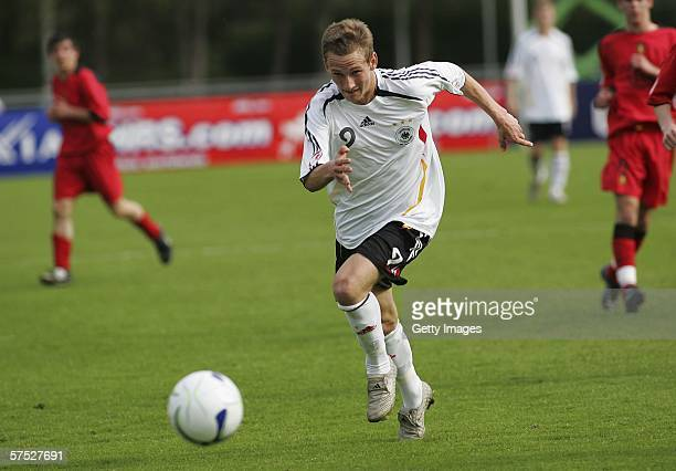 Manuel Fischer of Germany runs with the ball during the Men's Under 17 European Championship match between Germany and Belgium on May 3 2006 in...