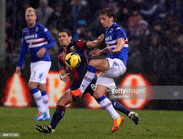 Manuel Gabbiadini of UC Sampdoria and Nicolas of Genoa CFC compete for the ball during the Serie A match between Genoa CFC and UC Sampdoria at Stadio...