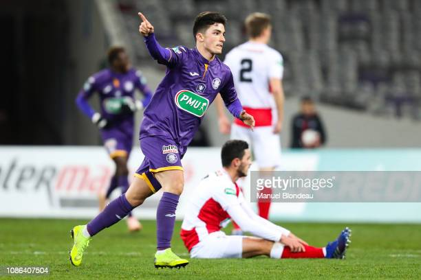 Manuel Garcia Alonso of Toulouse celebrates after scoring a goal during the French Cup match between Toulouse and Reims at Stadium Municipal on...