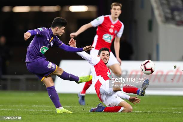 Manuel Garcia Alonso of Toulouse kicks the ball to score a goal during the French Cup match between Toulouse and Reims at Stadium Municipal on...