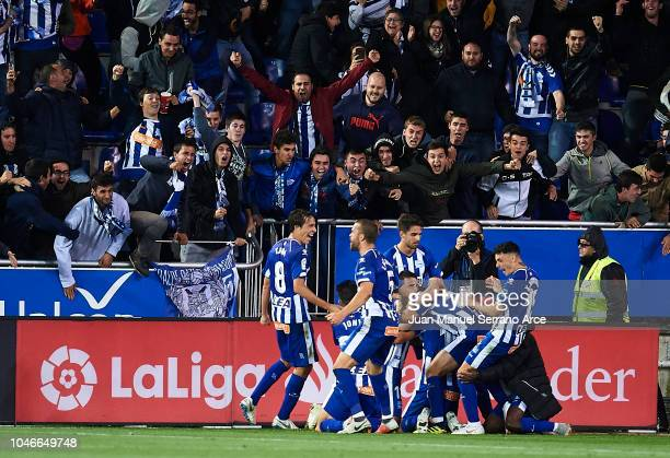 Manuel Garcia celebrates after scoring during the La Liga match between Deportivo Alaves and Real Madrid CF at Estadio de Mendizorroza on October 6...