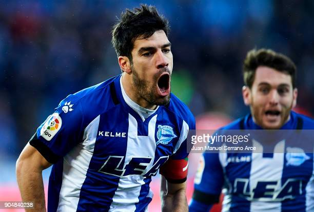 Manuel Garcia of Deportivo Alaves celebrates after scoring goal during the La Liga match between Deportivo Alaves and Sevilla FC at Mendizorroza...