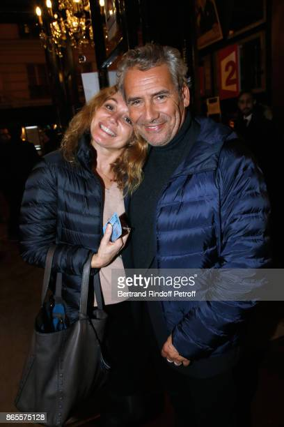 """Manuel Gelin and his wife Juliette Meyniac attend the """"Ramses II"""" Theater Play at Theatre des Bouffes Parisiens on October 23, 2017 in Paris, France."""