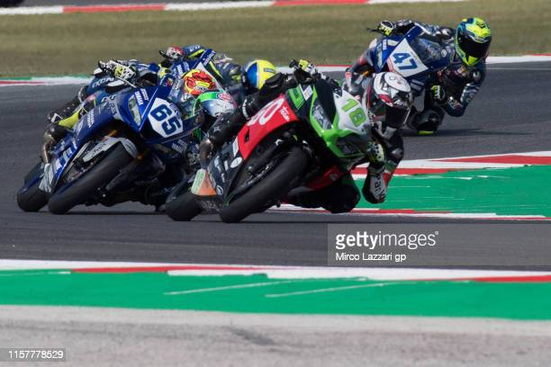 Manuel Gonzales of Spain and Kawasaki ParkinGO Team leads the field during the SuperSport300 race during the FIM Superbike World Championship in...