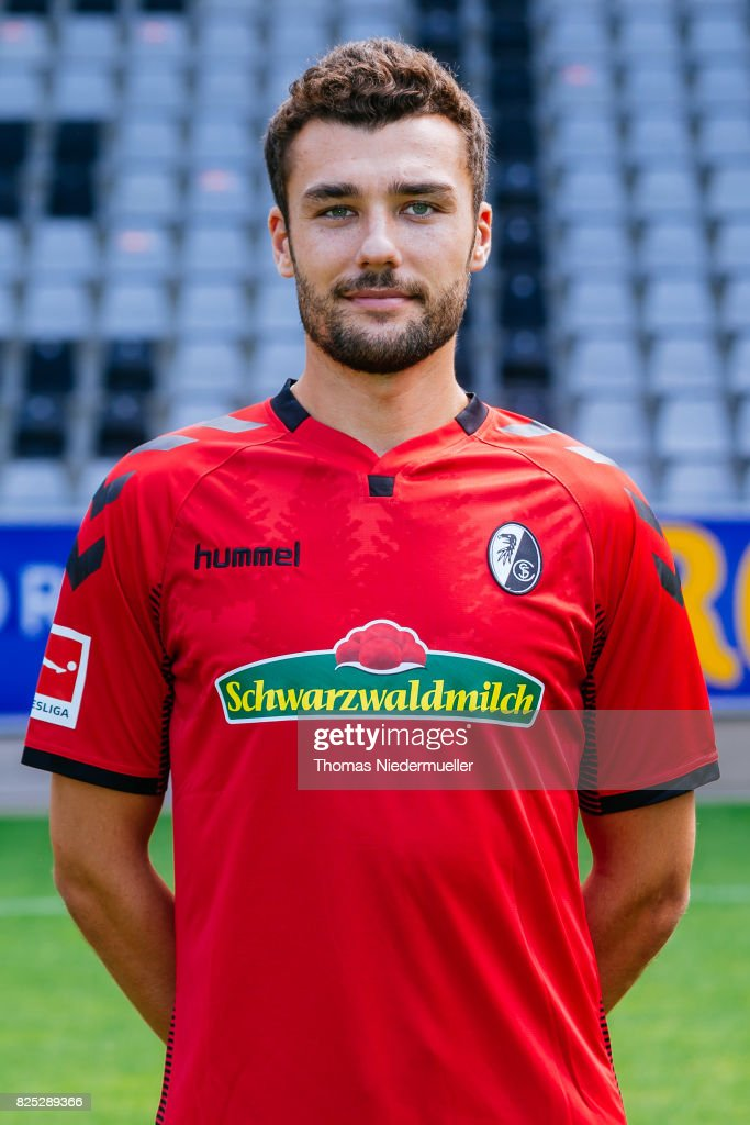 Manuel Gulde of SC Freiburg poses during the team presentation at Schwarzwald-Stadion on August 1, 2017 in Freiburg im Breisgau, Germany.