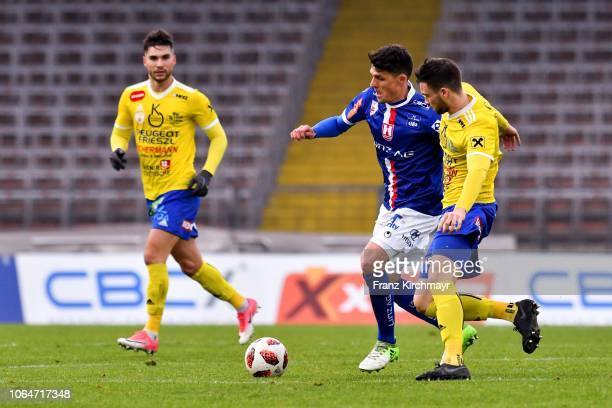 Manuel Hartl of FC Linz and Julian Tomka of Lafnitz during the 2 Liga match between FC Blau Weiss Linz v SV Lafnitz at Stadion der Stadt Linz on...