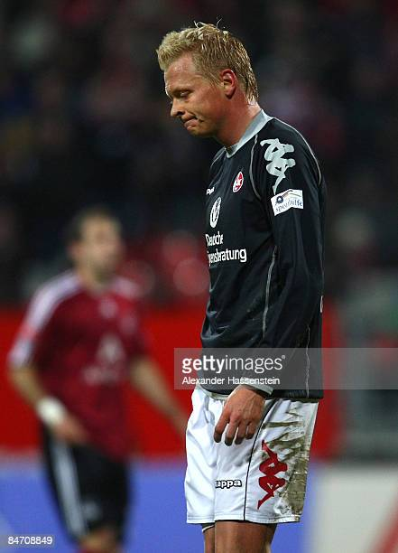 Manuel Hornig of Kaiserslautern looks dejected after receiving the Red Card during the Second Bundesliga match between 1. FC Nuernberg and 1. FC...