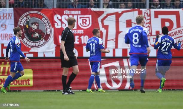 Manuel Janzer of Holstein Kiel celebrates his side's third goal during the 3 Liga match between Jahn Regensburg and Holstein Kiel on April 29 2017 in...