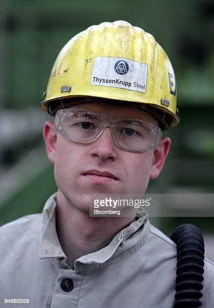 Manuel Kahlert, a ThyssenKrupp employee, poses at the company's steel plant in Duisburg, Germany, on Monday, Jan. 28, 2008. ThyssenKrupp AG,...
