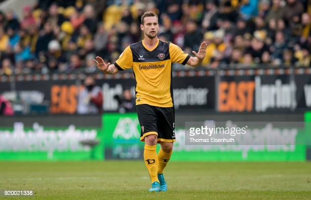 Manuel Konrad of Dresden reacts during the Second Bundesliga match between SG Dynamo Dresden and SSV Jahn Regensburg at DDVStadion on February 18...