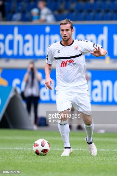 Manuel Konrad of KFC Uerdingen controls the ball during the 3 Liga match between KFC Uerdingen 05 and SpVgg Unterhaching at GrotenburgStadion on July...