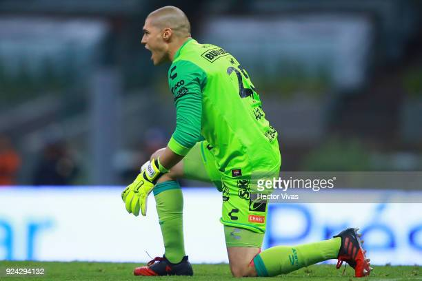 Manuel Lajud goalkeeper of Tijuana celebrates after finish the game during the 9th round match between America and Tijuana as part of the Torneo...