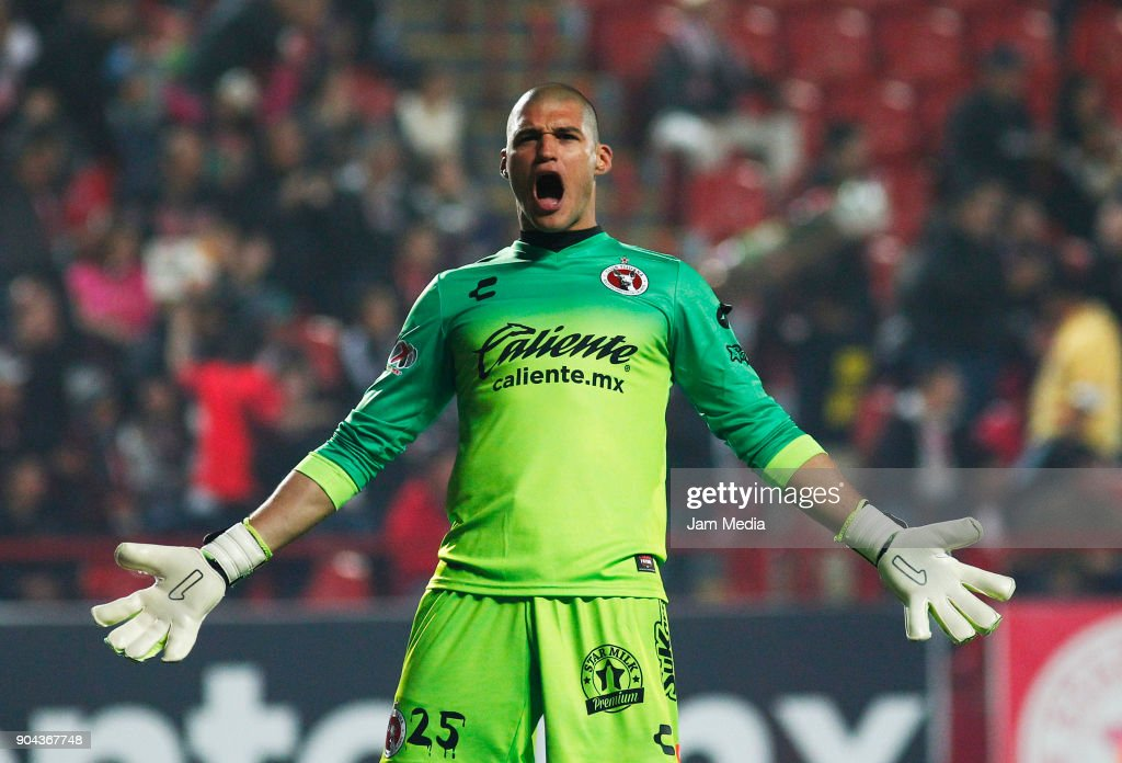 Manuel Lajud Goalkeeper of Tijuana celebrates the first goal of his team during the second round match between Tijuana and Necaxa as part of Torneo Clausura 2018 Liga MX at Caliente Stadium on January 12, 2018 in Tijuana, Mexico.