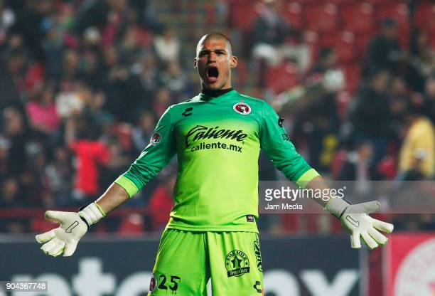 Manuel Lajud Goalkeeper of Tijuana celebrates the first goal of his team during the second round match between Tijuana and Necaxa as part of Torneo...