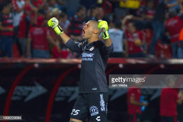 Manuel Lajud of Tijuana celebrates during the 1st round match between Tijuana and Chivas as part of the Torneo Apertura 2018 Liga MX at Caliente...