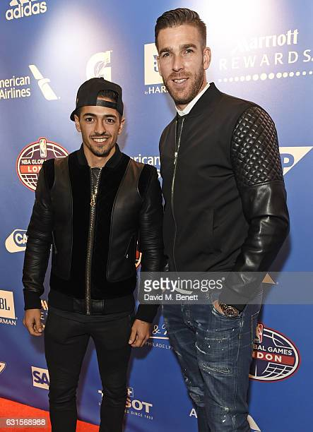 Manuel Lanzini and Adrian attend the NBA Global Game London 2017 after party at The O2 Arena on January 12 2017 in London England
