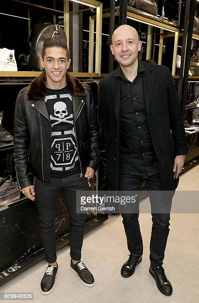Manuel Lanzini and Mauricio Martinez Caballero attend a cocktail party to celebrate the opening of the Philipp Plein London Boutique on December 15...