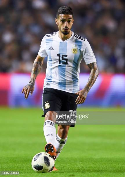 Manuel Lanzini of Argentina drives the ball during an international friendly match between Argentina and Haiti at Alberto J Armando Stadium on May 29...