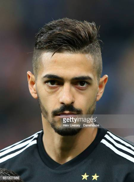 Manuel Lanzini of Argentina looks on prior to the International friendly match between Argentina and Italy at Etihad Stadium on March 23 2018 in...