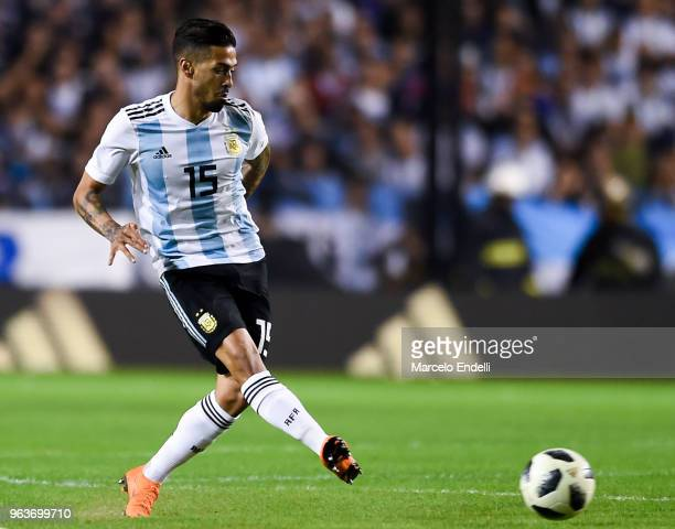 Manuel Lanzini of Argentina plays the ball during an international friendly match between Argentina and Haiti at Alberto J Armando Stadium on May 29...