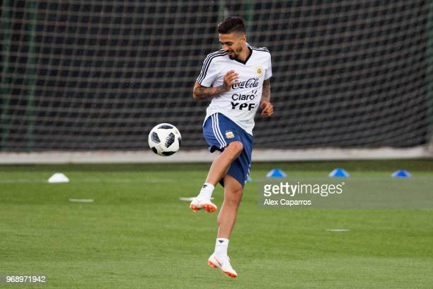 Manuel Lanzini of Argentina takes part in a training session as part of the team preparation for FIFA World Cup Russia 2018 at FC Barcelona 'Joan...