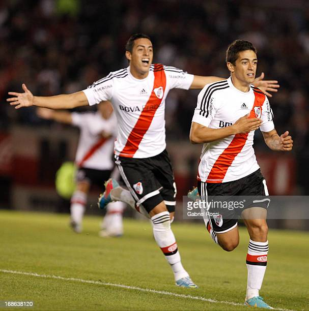 Manuel Lanzini of River Plate celebrates a goal during the match between River Plate and All Boys as part of the Torneo Final 2013 at the Antonio V...