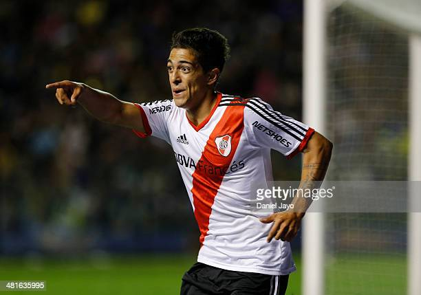 Manuel Lanzini of River Plate celebrates after scoring during a match between Boca Juniors and River Plate as part of 10th round of Torneo Final 2014...