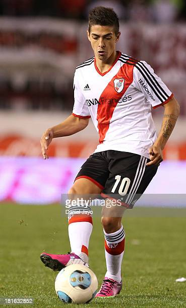 Manuel Lanzini of River Plate in action during a match between River Plate and All Boys as part of the Torneo Inicial 2013 at Monumental Stadium on...