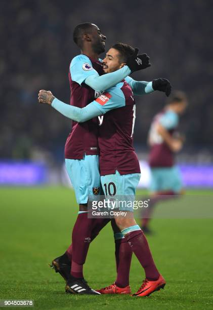 Manuel Lanzini of West Ham United celebrates after scoring his sides fourth goal with Cheikhou Kouyate of West Ham United during the Premier League...