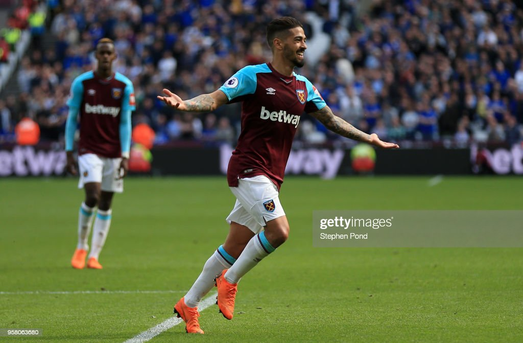 Manuel Lanzini of West Ham United celebrates scoring his sides third goal during the Premier League match between West Ham United and Everton at London Stadium on May 13, 2018 in London, England.