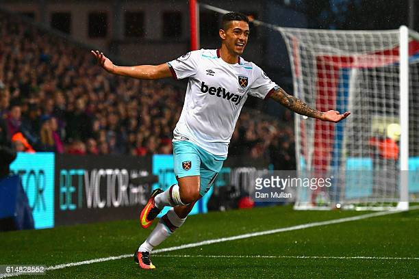 Manuel Lanzini of West Ham United celebrates scoring the opening goal during the Premier League match between Crystal Palace and West Ham United at...