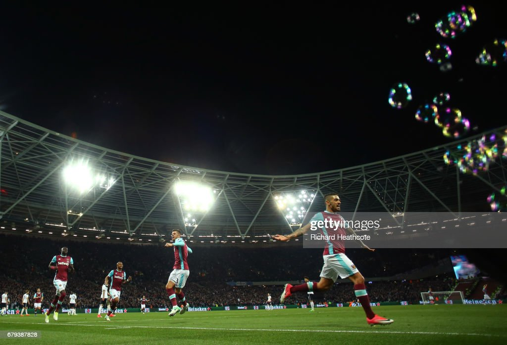 Manuel Lanzini of West Ham United celebrates scoring the opening goal during the Premier League match between West Ham United and Tottenham Hotspur at the London Stadium on May 5, 2017 in Stratford, England.