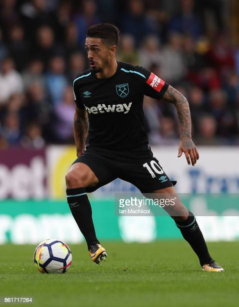 Manuel Lanzini of West Ham United controls the ball during the Premier League match between Burnley and West Ham United at Turf Moor on October 14...