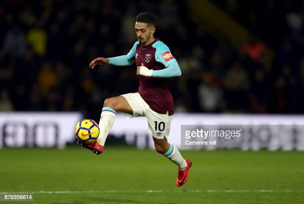 Manuel Lanzini of West Ham United during the Premier League match between Watford and West Ham United at Vicarage Road on November 19 2017 in Watford...