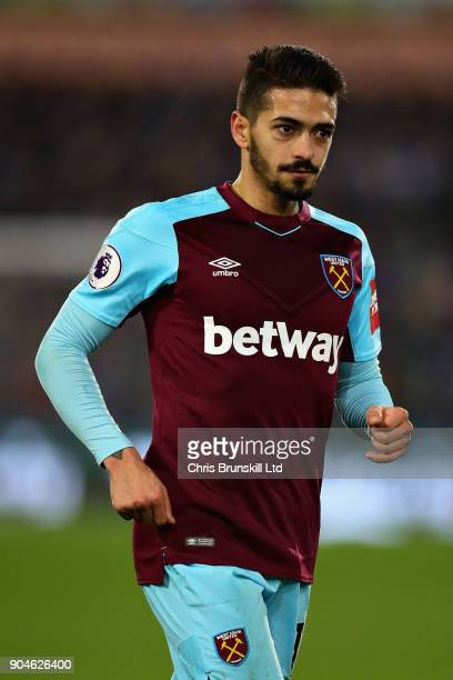 Manuel Lanzini of West Ham United in action during the Premier League match between Huddersfield Town and West Ham United at John Smith's Stadium on...