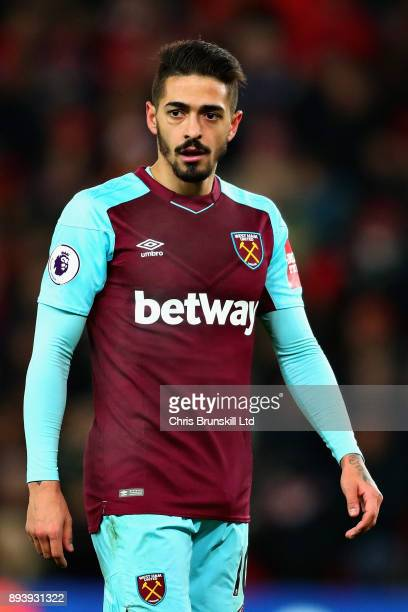 Manuel Lanzini of West Ham United looks on during the Premier League match between Stoke City and West Ham United at Bet365 Stadium on December 16...